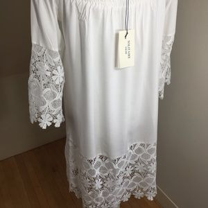 solitaire swim white cotton crochet lace dress L